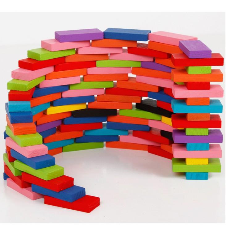FREESHIP ĐƠN 99K_Bộ domino gồm 120 chi tiết nhiều mầu, cho bé chơi mà học