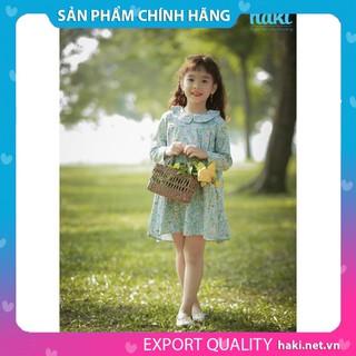 Đầm bé gái_Váy dài tay cổ sen xếp li HAKI- In hoa -HK487.1