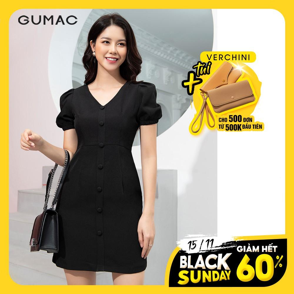 Đầm cổ tim tay chun GUMAC D