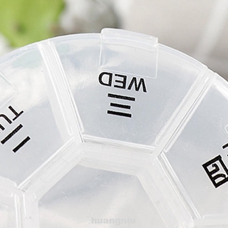 Round Practical Transparent Travel Mini Portable Weekly Medicine Box