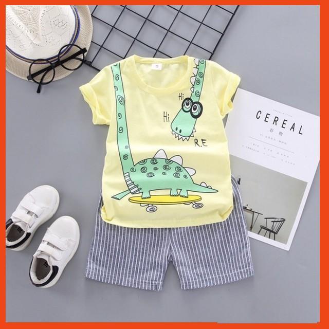 Bộ Cộc Tay Cho Bé Hình Khủng Long Quần áo trẻ em mùa hè Bộ Cotton cho bé M40