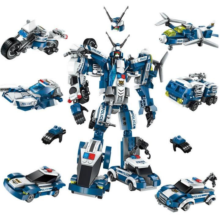 [Mã TOYNOV giảm 10% tối đa 15K đơn từ 50K] Đồ Chơi Lắp Ráp Robot Biến Hình Cảnh Sát - ENLIGHTEN số 1407- 600 Chi Tiết!!