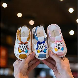 Hàng đẹp_Dép rọ,sandal tập đi hình mặt Monkey cho bé đế mềm chống vấp, chống trượt 0-2 tuổi