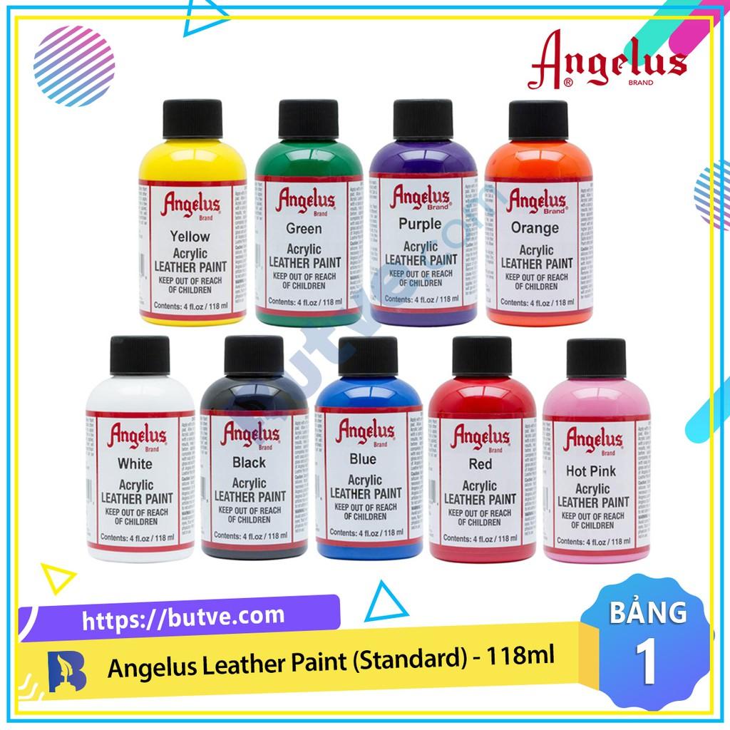 Bảng màu 1 - Màu acrylic vẽ lên da, vải Angelus Leather Paint (Standard) – 118ml (4Oz)
