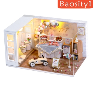 [BAOSITY1] DIY Miniature Dollhouse Wooden Furniture Kit Handmade Mini Modern Apartment Model with 1:24th Creative Doll House Toys for Children Gift