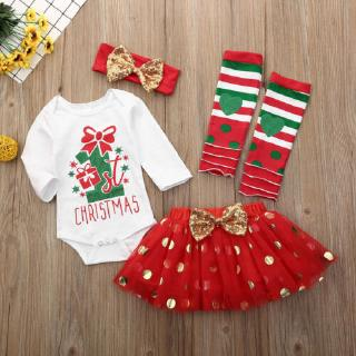ⓗღ✯My 1st Christmas Newborn Baby Girl Xmas Romper +Skirt +Leg Warmers Outfits Clothes Set