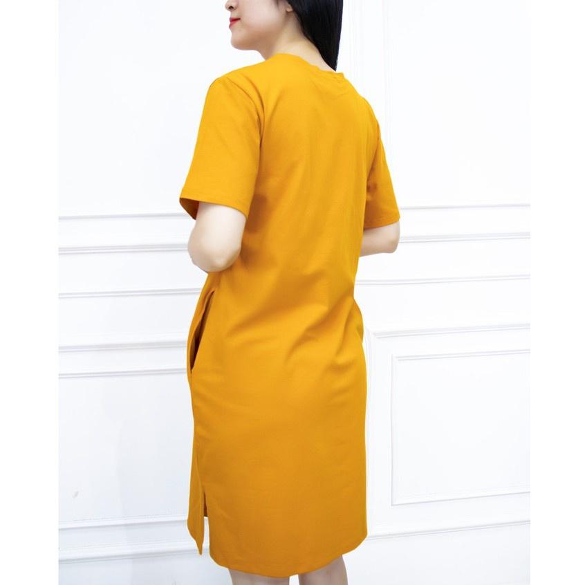 Mặc gì đẹp: Dễ chịu với Đầm Thun Mặc Nhà Suông Cotton Dáng Dài Cổ Tròn AMYRA ,Váy Xuông  Chữ Dáng Basis 2 màu Đen Vàng VA003