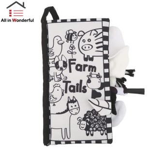 Baby Early Education Toys Black and White Puzzle Tail Cloth Book