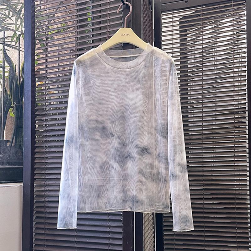 Áo Sơ Mi Vải Lụa Lạnh Mỏng Xuyên Thấu Nhuộm Màu Độc Đáo Thời Trang Mùa Hè Cho Nữ 2021 Sự Bảo Vệ