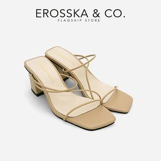 Dép cao gót Erosska mũi vuông phối dây kiểu dáng Hàn Quốc cao 7cm màu nude _ EM074 thumbnail