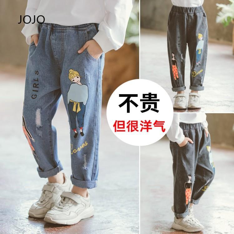 ใหม่ สาวกางเกงยีนส์ สบาย ๆ เสื้อผ้าเด็ก อ่อนโยน กางเกง ร้อน กางเกงยีนส์หลวม มีพลัง กางเกงยีนส์ เด็กใหม่ สวมใส่ กางเกง