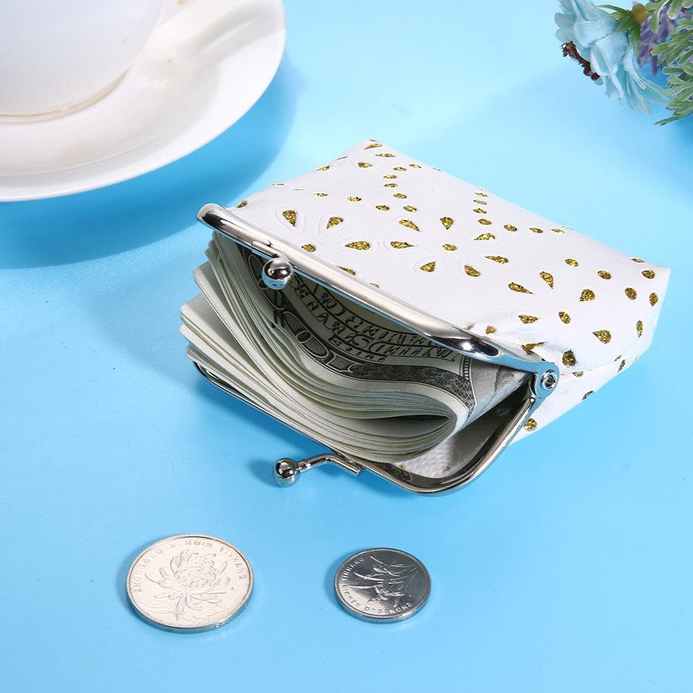[SU]Women Kids Hollow Mini Coin Wallets PU Leather Clip Card Clutch Holder Case