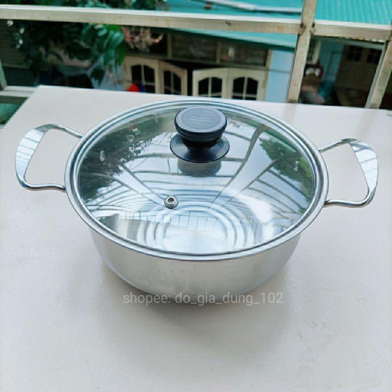 Xoong / Nồi inox 20cm nắp kính 🔥FREESHIP🔥 Dùng mọi loại bếp