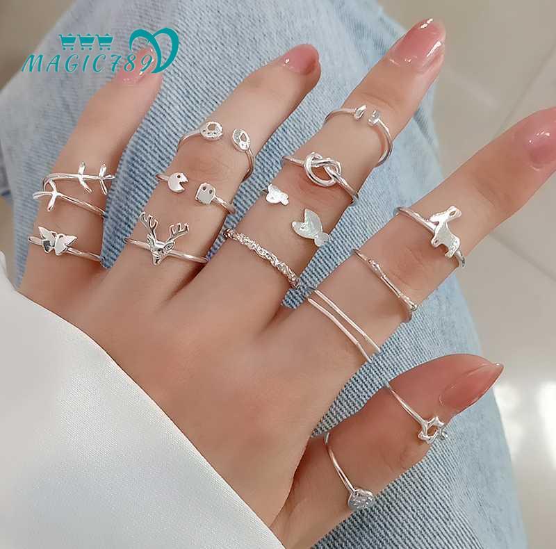 Nhẫn kim loại mạ bạc 925 phong cách Hàn Quốc thời trang