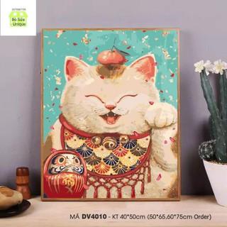 tranh sơn dầu số hóa mèo thần tài