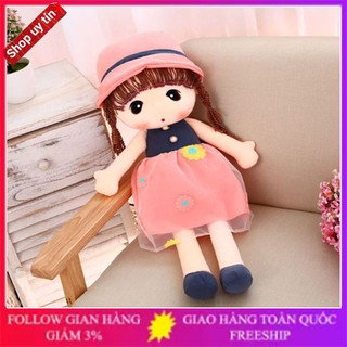 Búp bê cô gái 42cm – 45cm váy hoa màu hồng