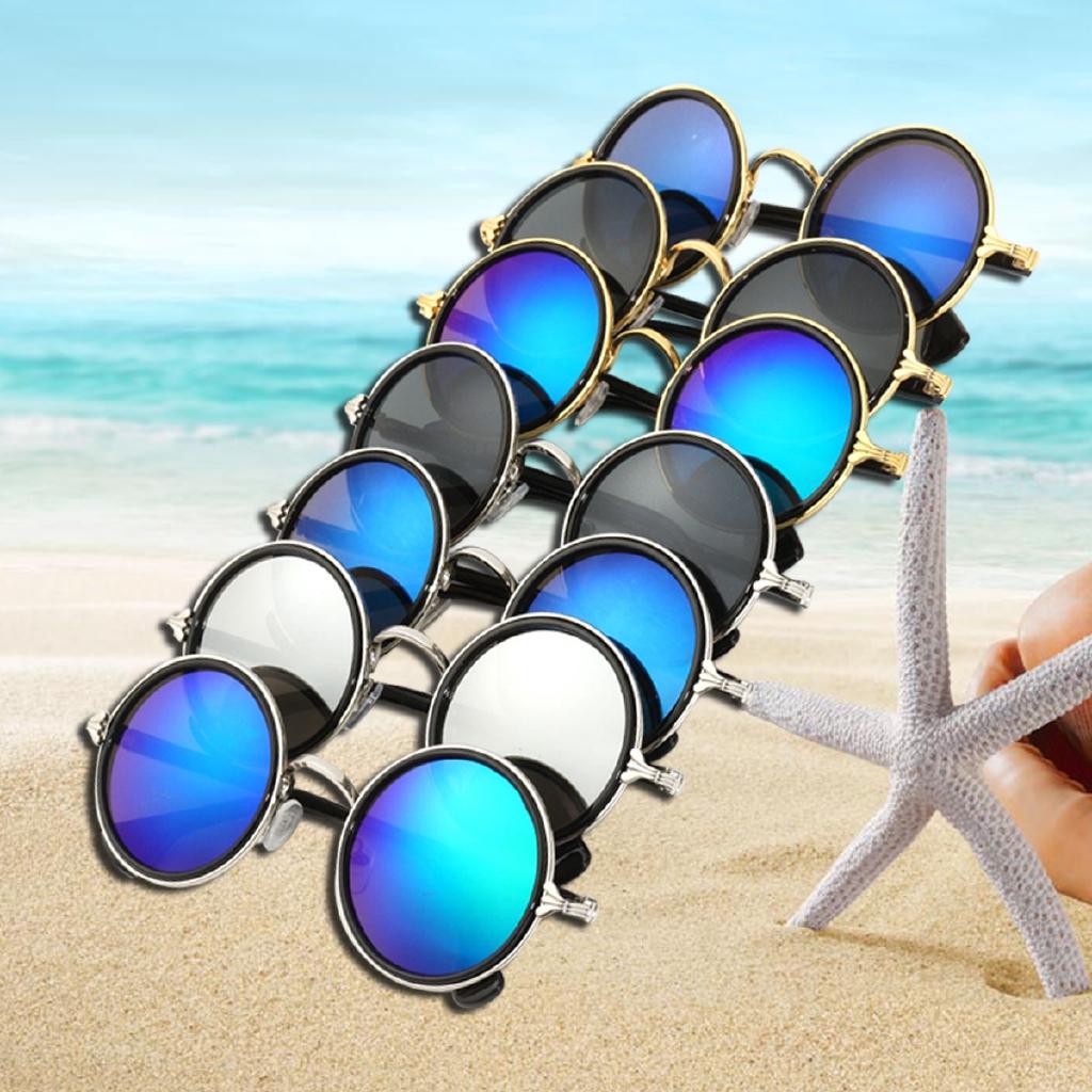 Steampunk Hippie Mirror Circle Round Lens Vintage Retro Sunglasses Women Men