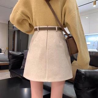 Chân váy len chữ A eo cao cấp thời trang Hàn Quốc