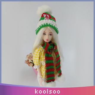 New Doll Outfit Accessory Knitted Scarf Sweater Dress Scarf Winter Outfit for 28-30cm Doll Red And Green