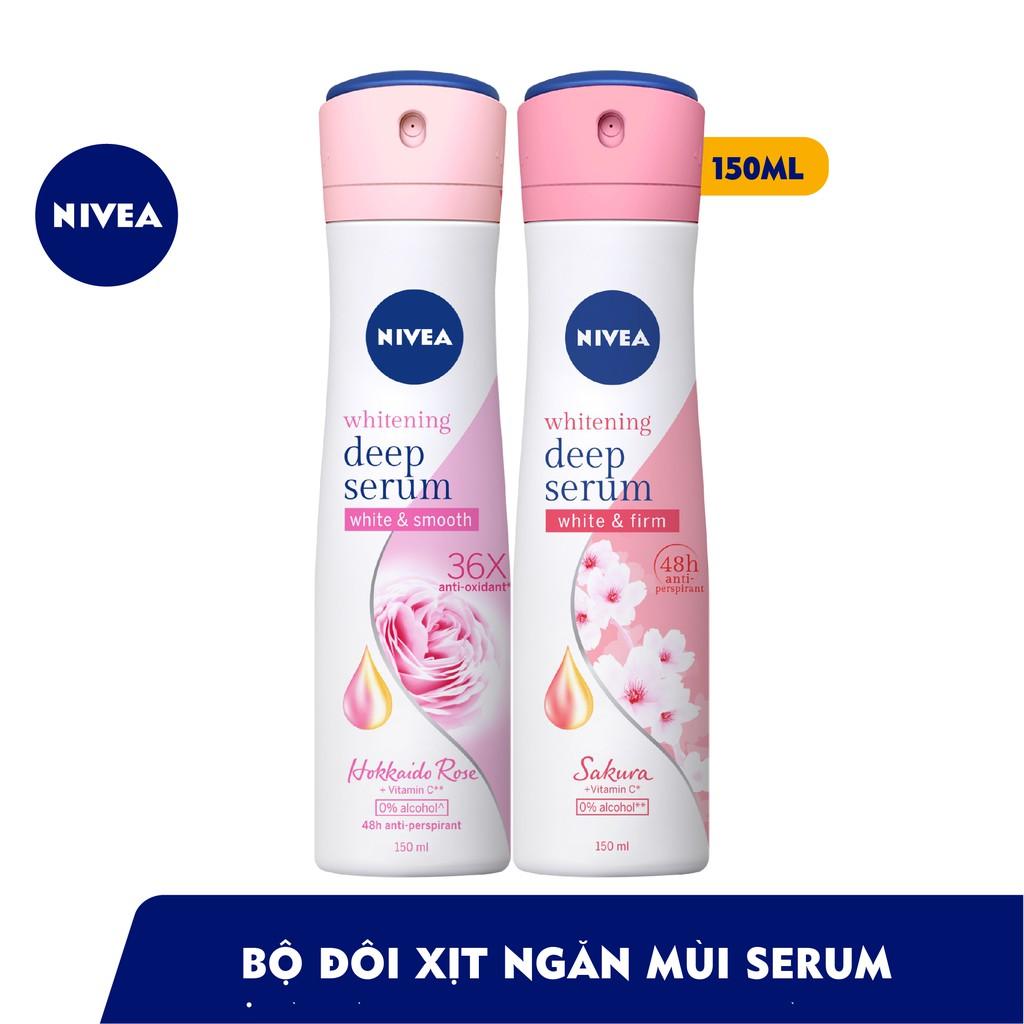 Bộ đôi Xịt serum ngăn mùi NIVEA dưỡng trắng hương hoa hồng Hokkaido & Sakura (150ml x2) (85304+85308)