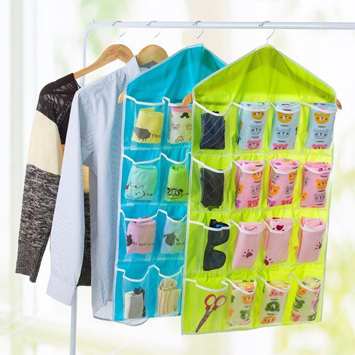 Túi đựng đồ treo đồ treo tường 16 ngăn tiện ích giúp bạn sắp xếp đồ lót, đồ dùng gia đình tiết kiệm diện tích TT&GĐ