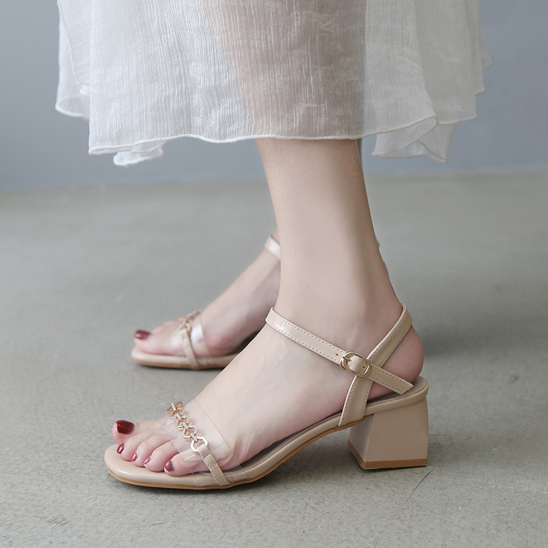 Sandals female evening shoes thick with fairy wind shoes with a buckle high heels