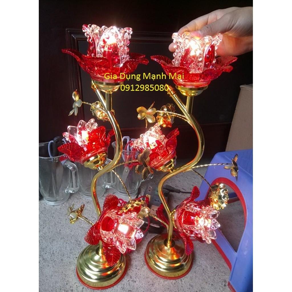 Combo 1 đôi đèn thờ LED sen hoa thủy tinh 3 bông cao 35cm