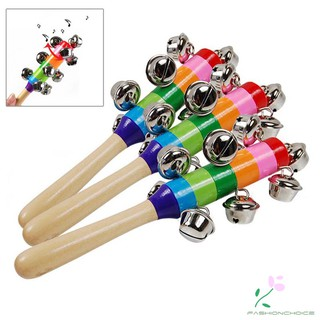 Colorful Wooden Rainbow Handle Jingle Bell Rattle Toys For Kids Baby Infant Intellegence Development