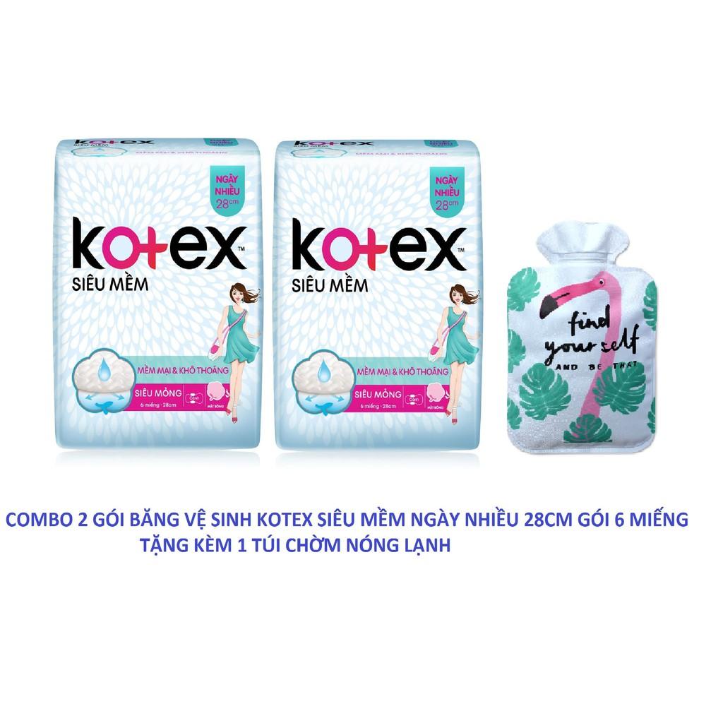 Combo 2 gói băng vệ sinh Kotex siêu mềm ngày nhiều 28cm gói 6 miếng tặng kèm 1 túi chườm nóng lạnh