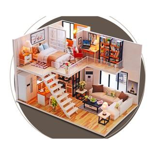 Mô hình nhà búp bê gỗ Cute Room – Biệt thự của sự Đơn giản và Thời thượng – Style Minimalism (không có mica che bụi)