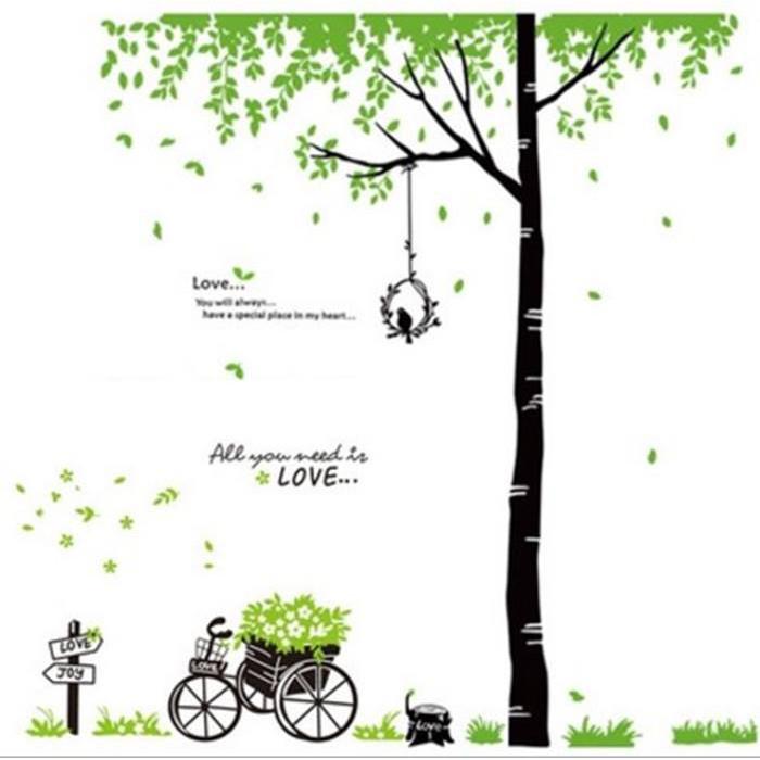 Decal dán tường combo cây xanh tổ chim và xe đạp xanh PK474 (Kích thước:220x160cm)