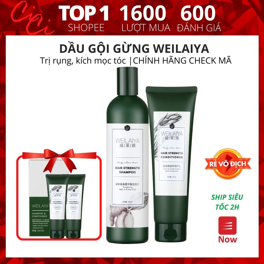 Bộ dầu gội gừng Weilaiya, giảm rụng kích mọc tóc chính hãng