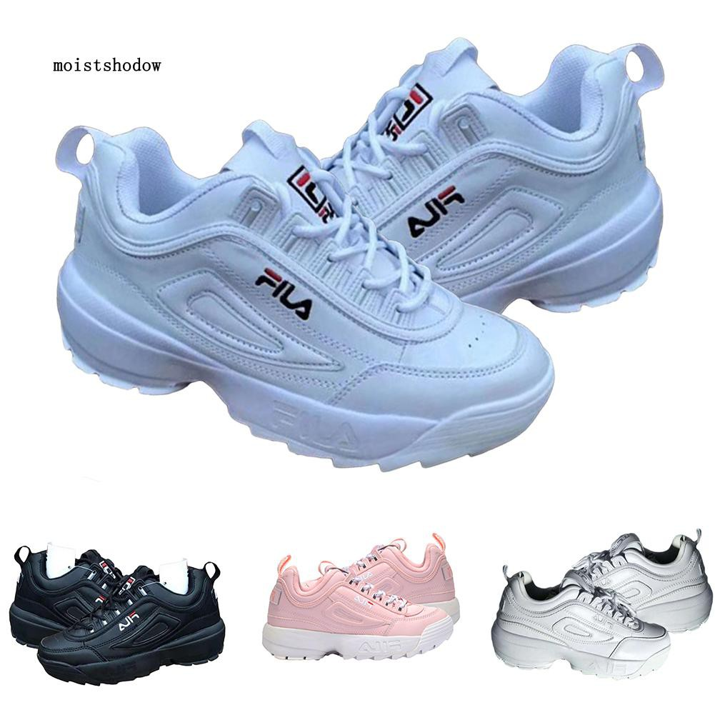 MISD Fila Disruptor II Unisex Anti-slip Lace Up Sneakers Sports Shoes Casual Trainer