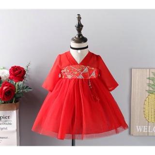 Váy Tết xinh lụa cao cấp cho bé gái xinh xắn 6-15kg
