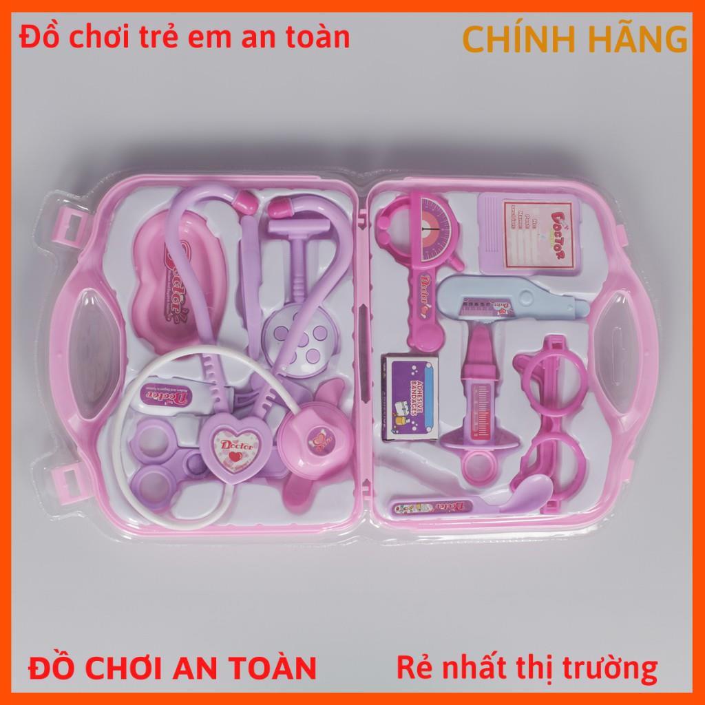 Hộp đồ chơi bác sĩ gồm 16 món màu hồng cho bé gái