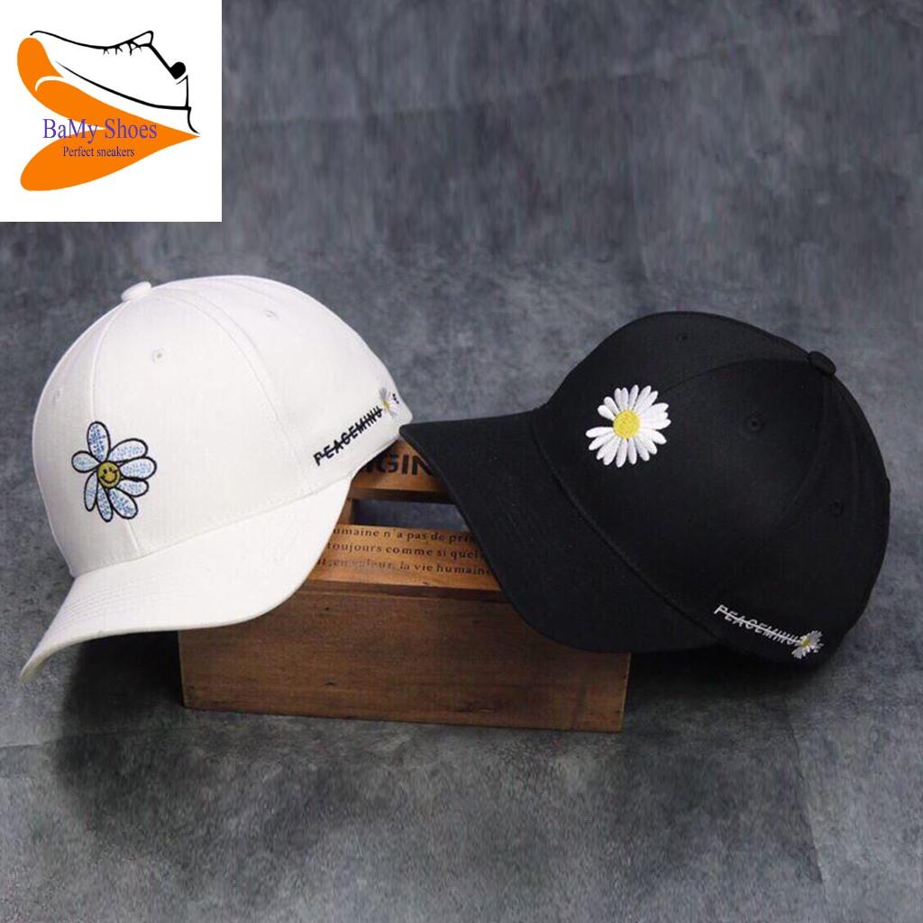 Mũ (Nón) Lưỡi Trai Hoa Cúc Nam Nữ 2 Màu Đen, Trắng Hottrend hè 2020