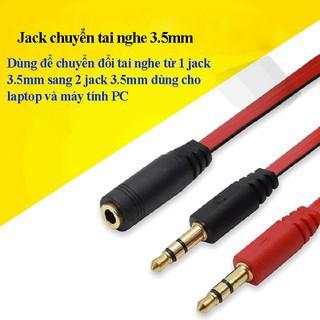 Cáp chuyển đổi tai nghe PC to 3,5mm - Cáp gộp Audio và Mic để dùng tai nghe trên máy tính, laptop, PC...