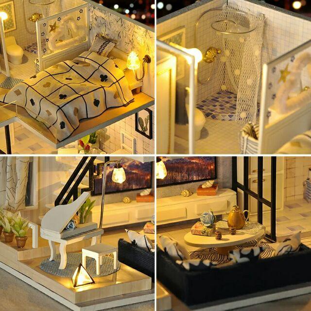 Kèm mica - Mô hình nhà gỗ búp bê dollhouse DIY - TD32 Light Shadow Of Time