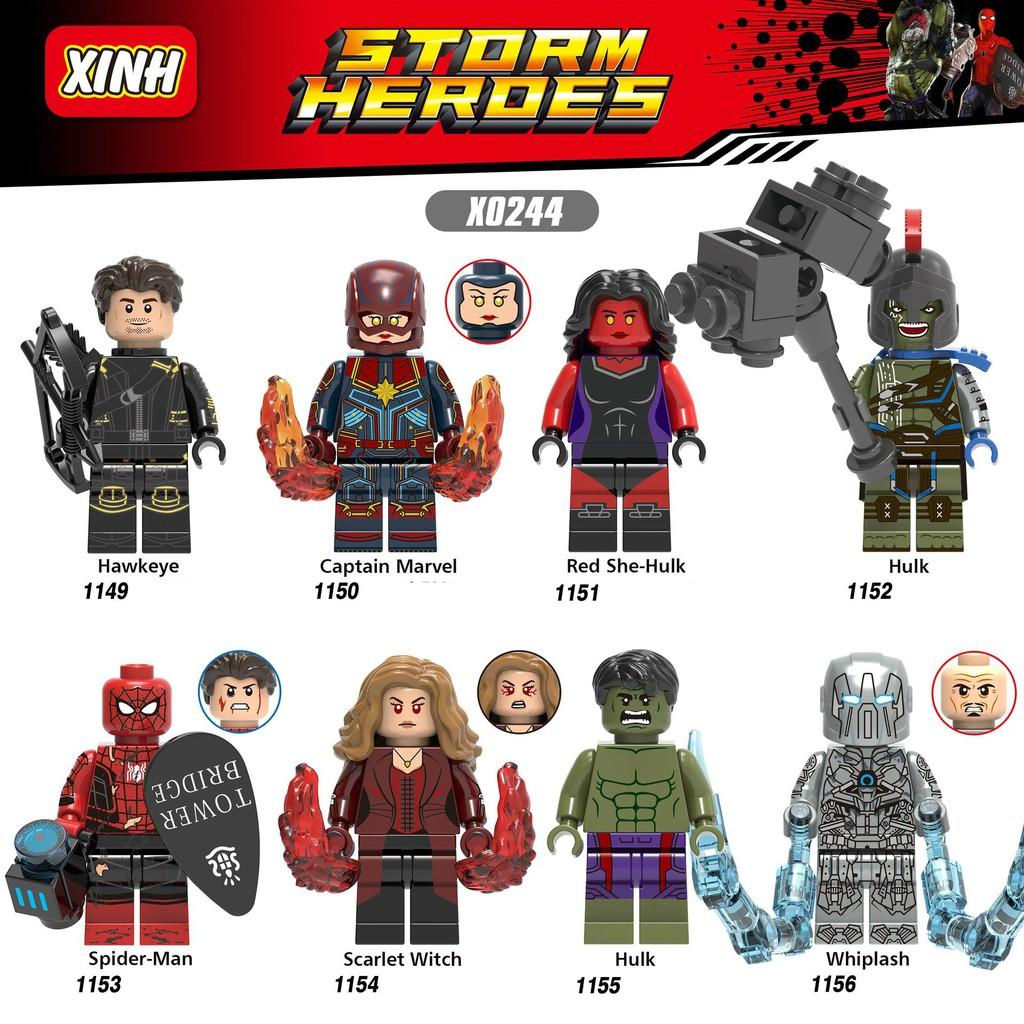 Minifigures Marvel DC Các Mẫu Nhân Vật Hulk Hawkeye Whiplash Captian Marvel Mẫu Mới Ra X0244