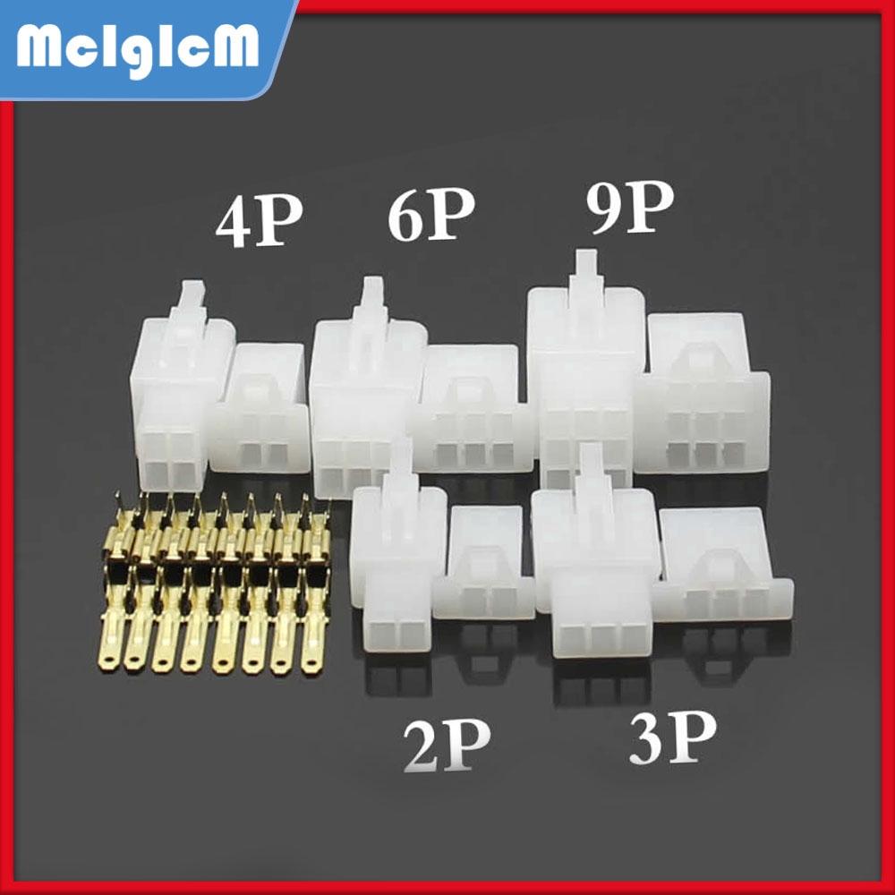 5Sets Bộ giắc nối dây điện xe máy 2.8 mm 2P/3P/4P/6P/9P 6A đầu cắm và lỗ