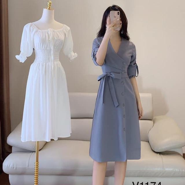 Váy nơ xanh thanh lịch
