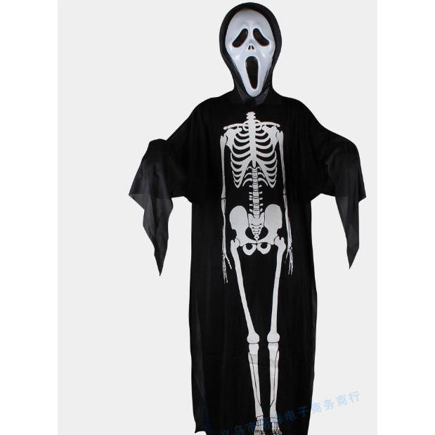 Set hóa trang halloween, set áo choàng bộ xương, áo choàng hóa trang