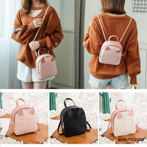 ➹-Women PU Leather Handbag Bags Cute Ears School Backpack Travel Shoulder Bag Fashion Rucksack