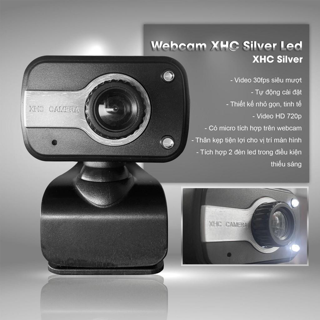 Webcam XHC Silver 720HD siêu nét , tích hợp mic và 2 đèn LED chiếu ...