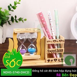 Đồng hồ cát đôi kèm hộp đựng bút - NDHS-5740-DHCD