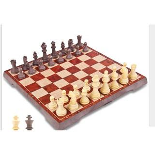 Bộ bàn cờ vua UB nam châm vân gỗ cao cấp 2 trong 1, bàn cờ vua cho bé kèm cờ vây