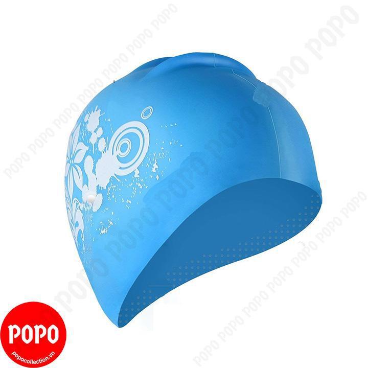 Mũ bơi, nón bơi cho nữ, trùm được tóc dài ôm trọn búi tóc chống vào nước POPO Collection CA35 Xanh n