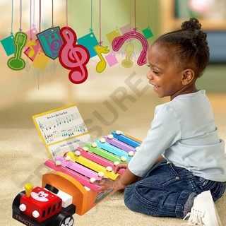 Drag Tractor Knocking Piano Music Instrument Toys Baby Wooden Toy Gifts