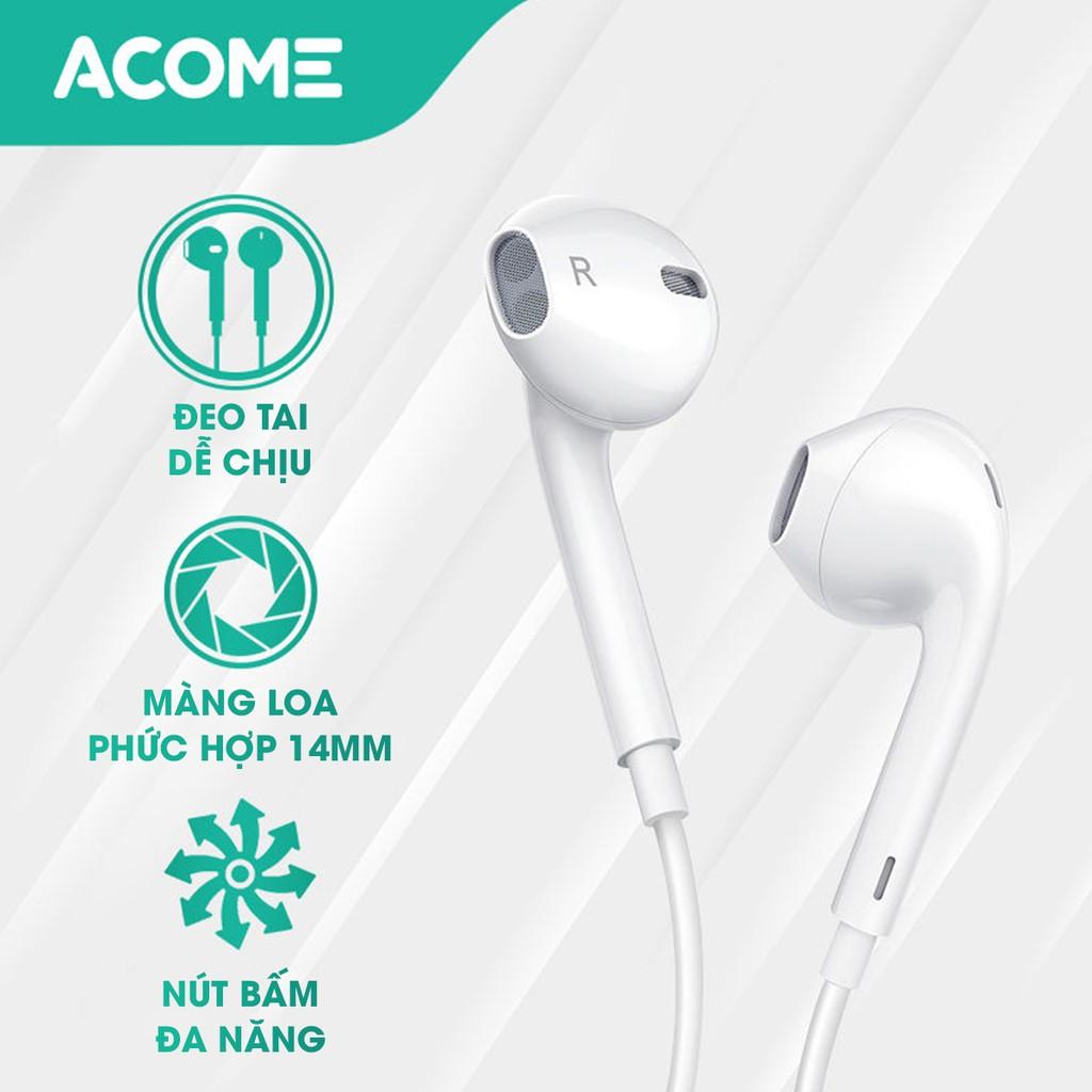 Tai Nghe Nhét Tai ACOME AW01 Âm Thanh HD - Mic Đàm Thoại - HÀNG CHÍNH HÃNG