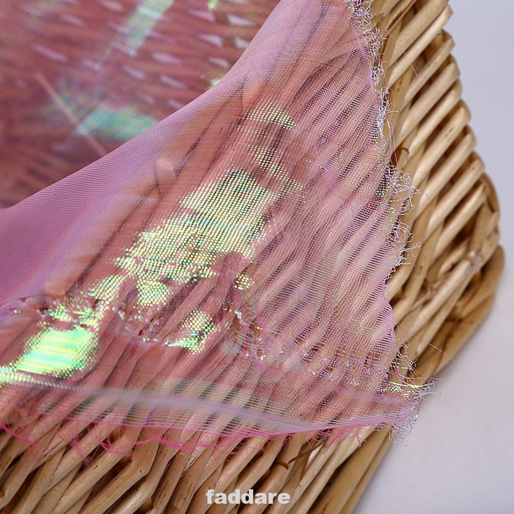 Colorful Yarn Designer Fashion Fluorescent Holographic Wedding Decor Transparent Gauze Fabric